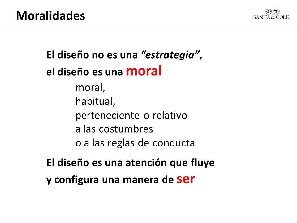 Moralidades El diseño no es una estrategia, el diseño es una moral moral, habitual, perteneciente o relativo a las costumbres o a las reglas de conduc