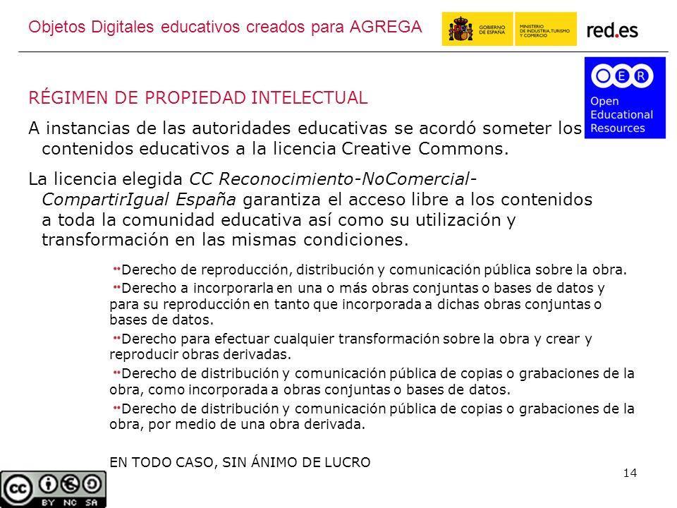 14 RÉGIMEN DE PROPIEDAD INTELECTUAL A instancias de las autoridades educativas se acordó someter los contenidos educativos a la licencia Creative Commons.