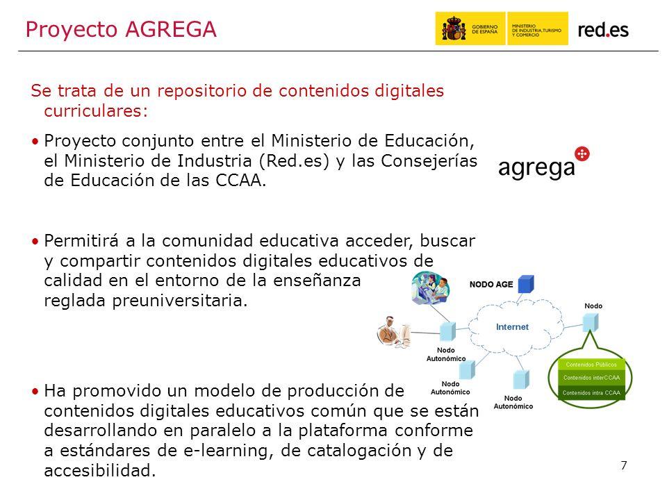 7 Proyecto AGREGA Se trata de un repositorio de contenidos digitales curriculares: Proyecto conjunto entre el Ministerio de Educación, el Ministerio de Industria (Red.es) y las Consejerías de Educación de las CCAA.