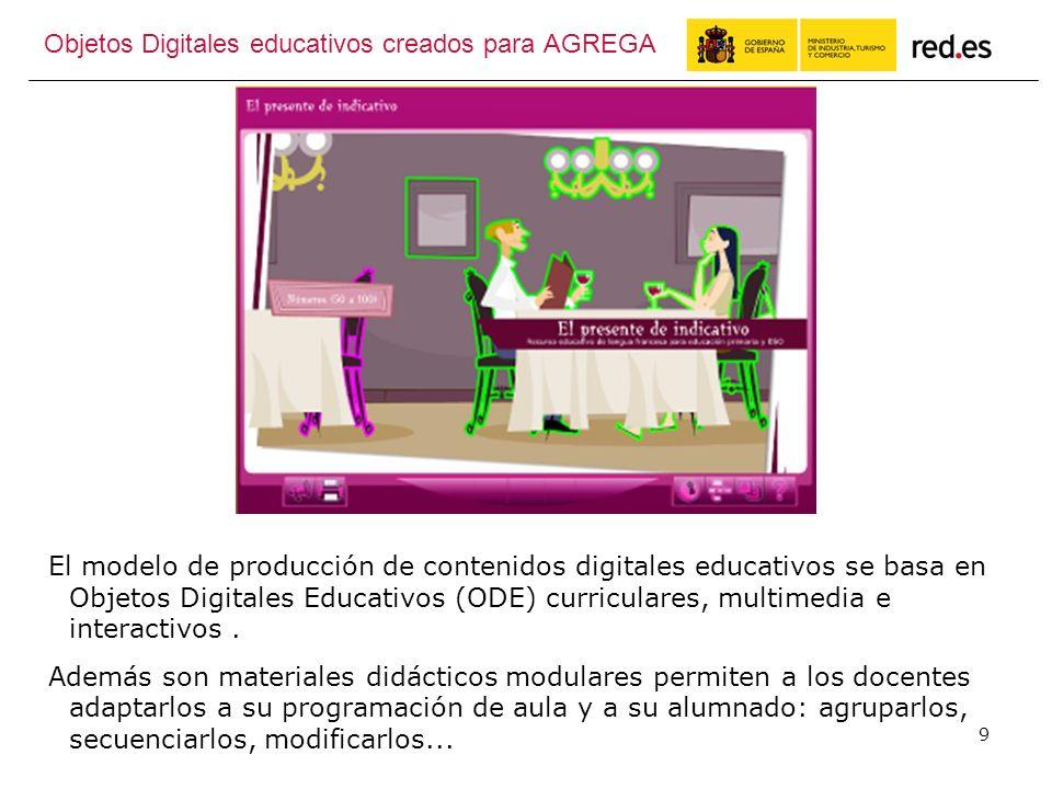 9 El modelo de producción de contenidos digitales educativos se basa en Objetos Digitales Educativos (ODE) curriculares, multimedia e interactivos.