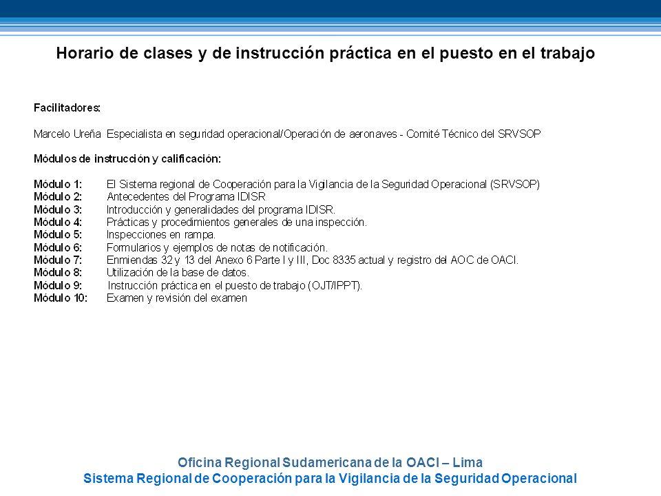 Oficina Regional Sudamericana de la OACI – Lima Sistema Regional de Cooperación para la Vigilancia de la Seguridad Operacional Horario de clases y de