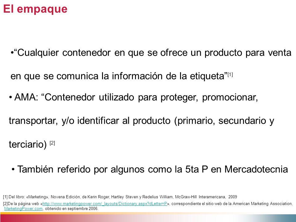 El empaque Cualquier contenedor en que se ofrece un producto para venta en que se comunica la información de la etiqueta [1] [1] Del libro: «Marketing