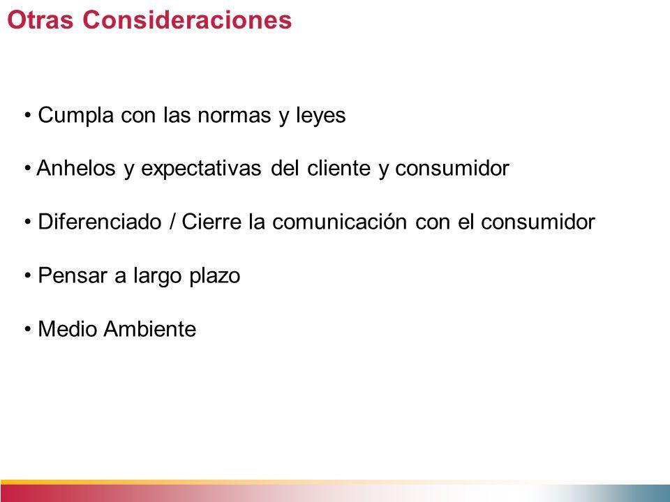 Otras Consideraciones Cumpla con las normas y leyes Anhelos y expectativas del cliente y consumidor Diferenciado / Cierre la comunicación con el consu