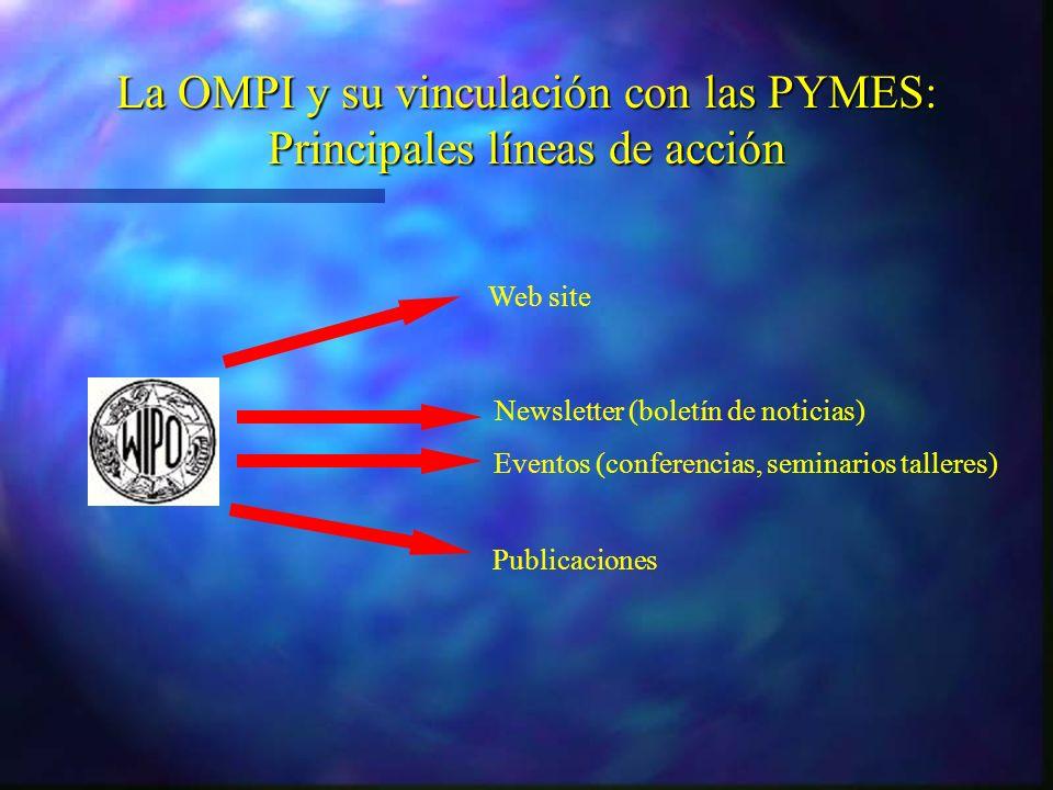 Eventos (conferencias, seminarios talleres) Publicaciones Newsletter (boletín de noticias) Web site La OMPI y su vinculación con las PYMES: Principales líneas de acción