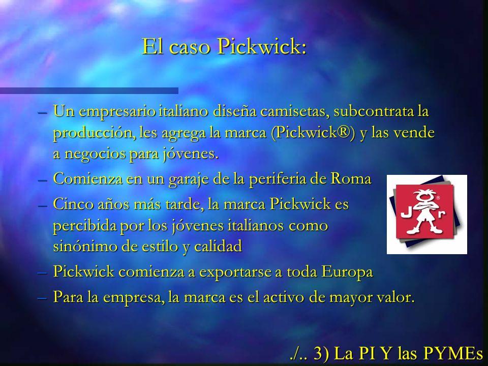 El caso Pickwick: –Un empresario italiano diseña camisetas, subcontrata la producción, les agrega la marca (Pickwick®) y las vende a negocios para jóvenes.