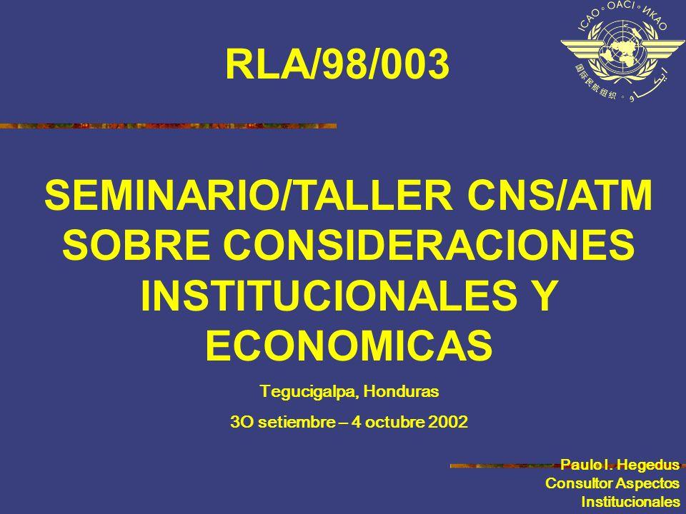 SEMINARIO/TALLER CNS/ATM SOBRE CONSIDERACIONES INSTITUCIONALES Y ECONOMICAS Tegucigalpa, Honduras 3O setiembre – 4 octubre 2002 Paulo I. Hegedus Consu