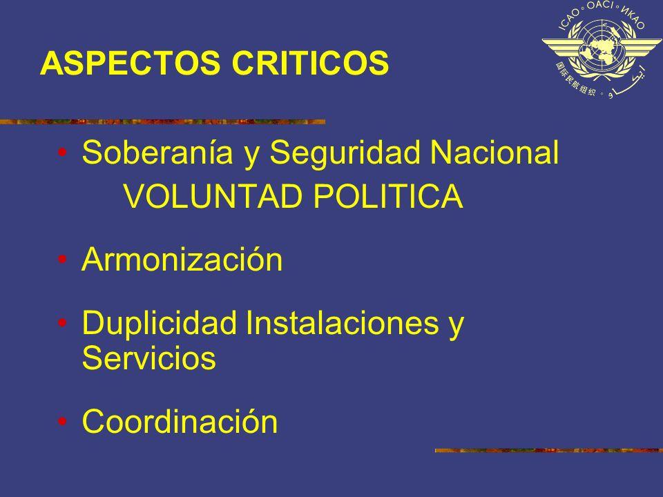 ASPECTOS CRITICOS Soberanía y Seguridad Nacional VOLUNTAD POLITICA Armonización Duplicidad Instalaciones y Servicios Coordinación