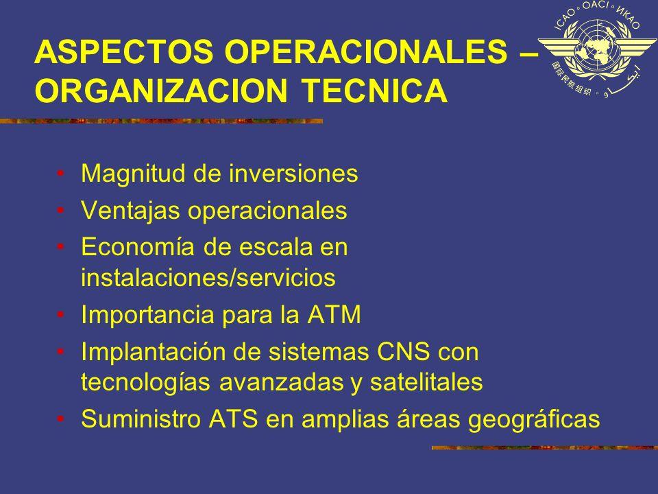 ASPECTOS OPERACIONALES – ORGANIZACION TECNICA Magnitud de inversiones Ventajas operacionales Economía de escala en instalaciones/servicios Importancia