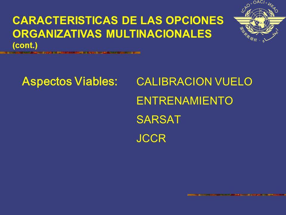 CARACTERISTICAS DE LAS OPCIONES ORGANIZATIVAS MULTINACIONALES (cont.) Aspectos Viables: CALIBRACION VUELO ENTRENAMIENTO SARSAT JCCR