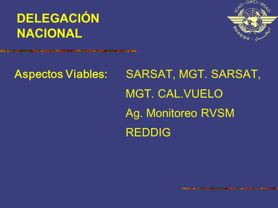 Aspectos Viables: SARSAT, MGT. SARSAT, MGT. CAL.VUELO Ag. Monitoreo RVSM REDDIG DELEGACIÓN NACIONAL