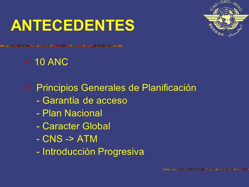 ANTECEDENTES 10 ANC Principios Generales de Planificación - Garantía de acceso - Plan Nacional - Caracter Global - CNS -> ATM - Introducción Progresiv