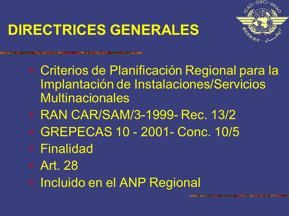 DIRECTRICES GENERALES Criterios de Planificación Regional para la Implantación de Instalaciones/Servicios Multinacionales RAN CAR/SAM/3-1999- Rec. 13/