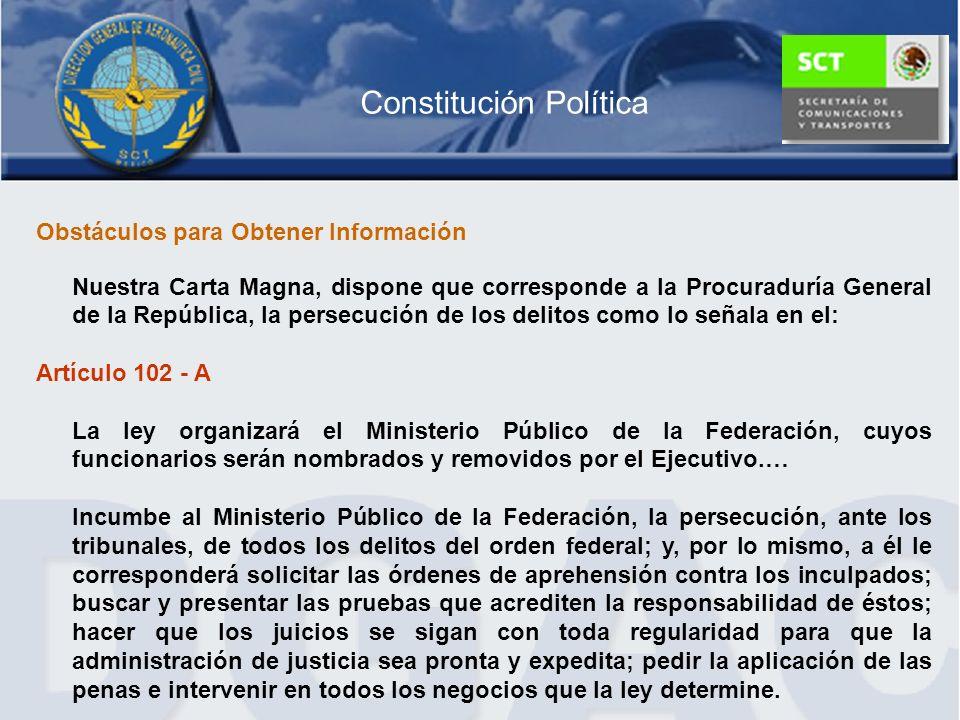 Constitución Política Obstáculos para Obtener Información Nuestra Carta Magna, dispone que corresponde a la Procuraduría General de la República, la p
