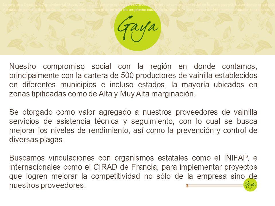 La empresa Desarrollo Agroindustrial Gaya, S.A. de C.V. durante su trayectoria, ha manifestado su compromiso social en la zona geogr á fica en donde s