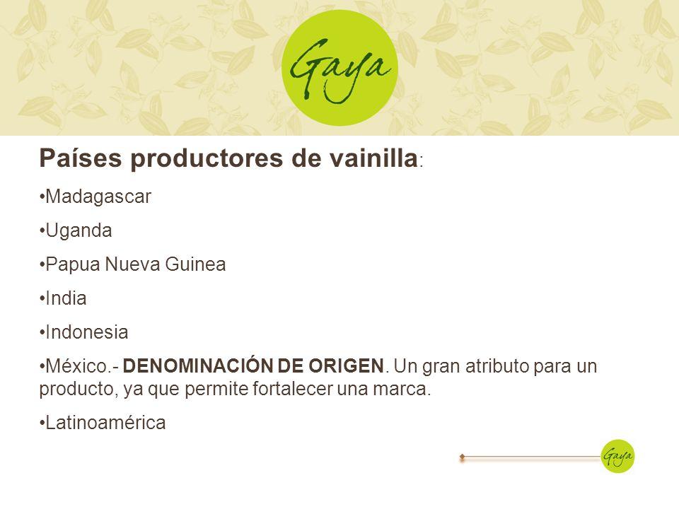 Países productores de vainilla : Madagascar Uganda Papua Nueva Guinea India Indonesia México.- DENOMINACIÓN DE ORIGEN. Un gran atributo para un produc