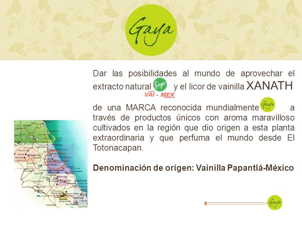 Dar las posibilidades al mundo de aprovechar el extracto natural y el licor de vainilla XANATH de una MARCA reconocida mundialmente, a través de produ