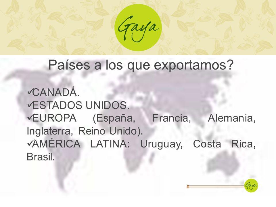 Países a los que exportamos? CANADÁ. ESTADOS UNIDOS. EUROPA (España, Francia, Alemania, Inglaterra, Reino Unido). AMÉRICA LATINA: Uruguay, Costa Rica,