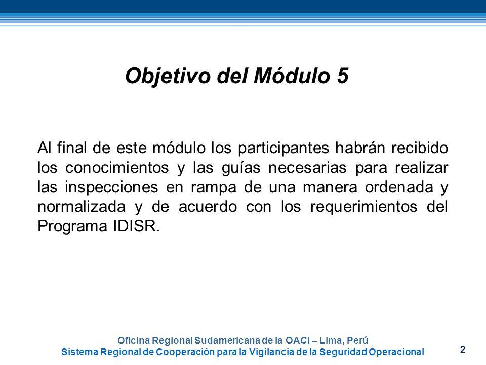 2 Objetivo del Módulo 5 Al final de este módulo los participantes habrán recibido los conocimientos y las guías necesarias para realizar las inspeccio