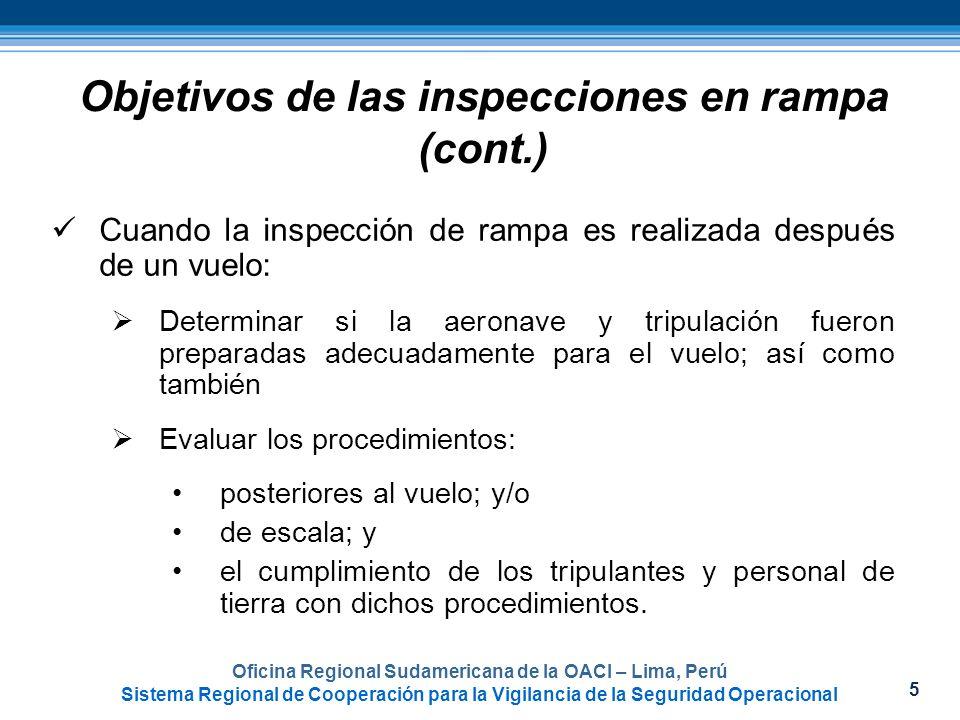 6 Objetivos de las inspecciones en rampa (cont.) Observar y evaluar los métodos de rutina y procedimientos utilizados por el personal del explotador antes y después de un vuelo para determinar el cumplimiento con las: reglamentaciones; y prácticas de operación seguras.