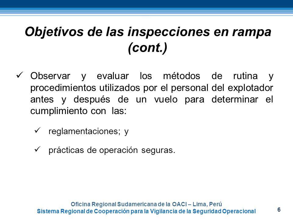 6 Objetivos de las inspecciones en rampa (cont.) Observar y evaluar los métodos de rutina y procedimientos utilizados por el personal del explotador a