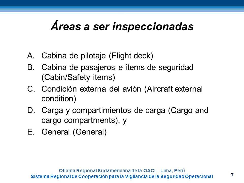 8 Procedimientos y prácticas generales de una inspección en rampa Oficina Regional Sudamericana de la OACI – Lima, Perú Sistema Regional de Cooperación para la Vigilancia de la Seguridad Operacional
