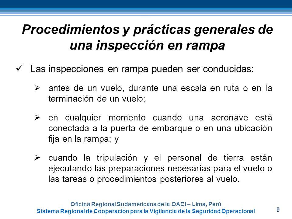 9 Procedimientos y prácticas generales de una inspección en rampa Las inspecciones en rampa pueden ser conducidas: antes de un vuelo, durante una esca