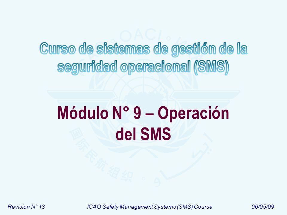 Módulo N° 9Curso de sistemas de gestión de la seguridad operacional (SMS) 12 Estructura OACI del SMS Política y objetivos de seguridad 1.1 – Responsabilidad y compromiso de la dirección 1.2 – Responsabilidades de seguridad operacional 1.3 – Designación del personal clave de seguridad 1.4 – Coordinación de la planificación de respuesta a la emergencia 1.5 – Documentación del SMS Gestión del riesgo de seguridad 2.1 – Identificación de peligros 2.2 – Evaluación y mitigación del riesgo Garantía de la seguridad 3.1 – Monitoreo y medición de la performance de la seguridad 3.2 – Gestión del cambio 3.3 – Mejora continua del SMS Promoción de la seguridad 4.1 – Entrenamiento y educación 4.2 – Comunicación de seguridad