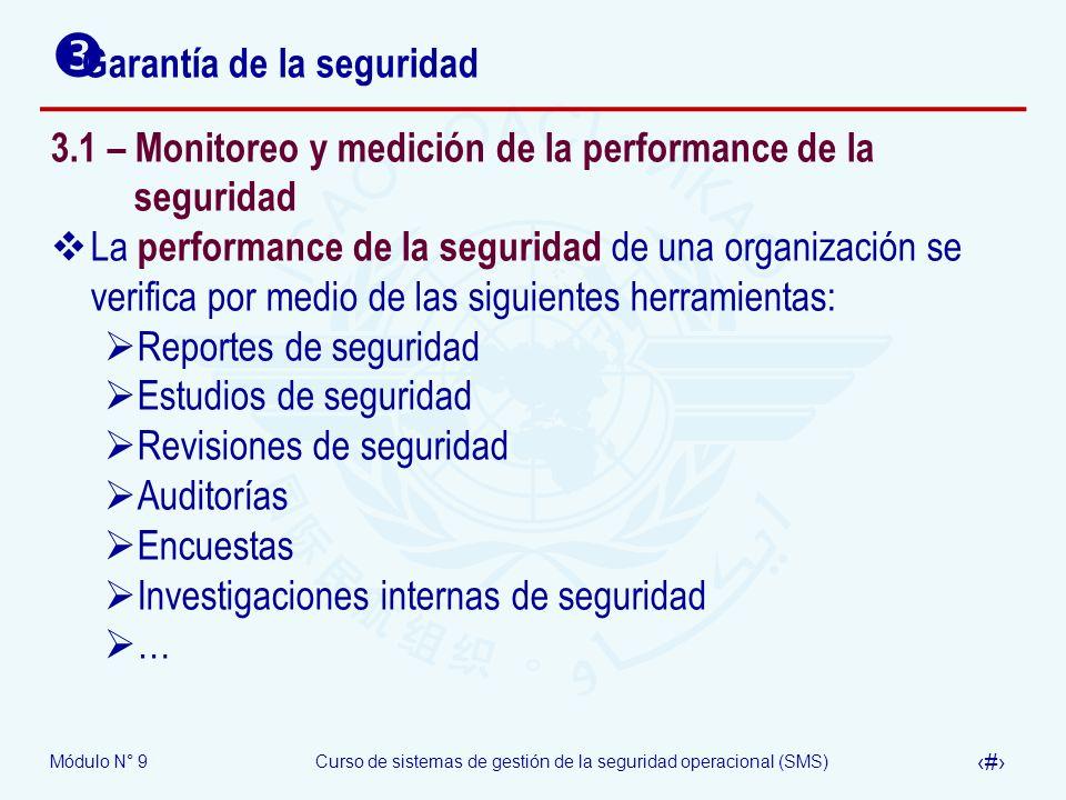 Módulo N° 9Curso de sistemas de gestión de la seguridad operacional (SMS) 16 Garantía de la seguridad 3.1 – Monitoreo y medición de la performance de