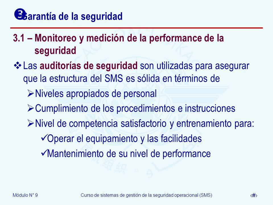 Módulo N° 9Curso de sistemas de gestión de la seguridad operacional (SMS) 17 Garantía de la seguridad 3.1 – Monitoreo y medición de la performance de