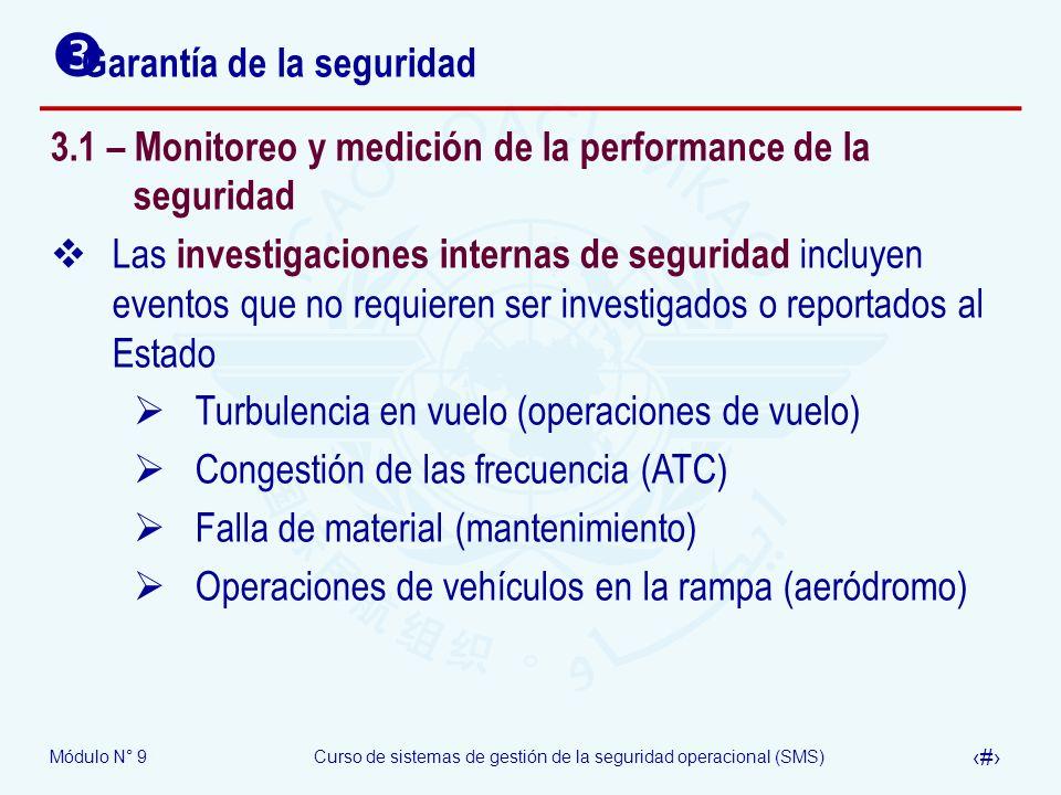 Módulo N° 9Curso de sistemas de gestión de la seguridad operacional (SMS) 20 Garantía de la seguridad 3.1 – Monitoreo y medición de la performance de