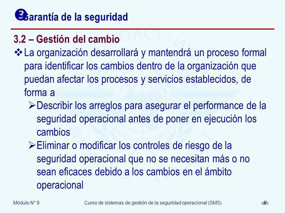 Módulo N° 9Curso de sistemas de gestión de la seguridad operacional (SMS) 22 Garantía de la seguridad 3.2 – Gestión del cambio La organización desarro