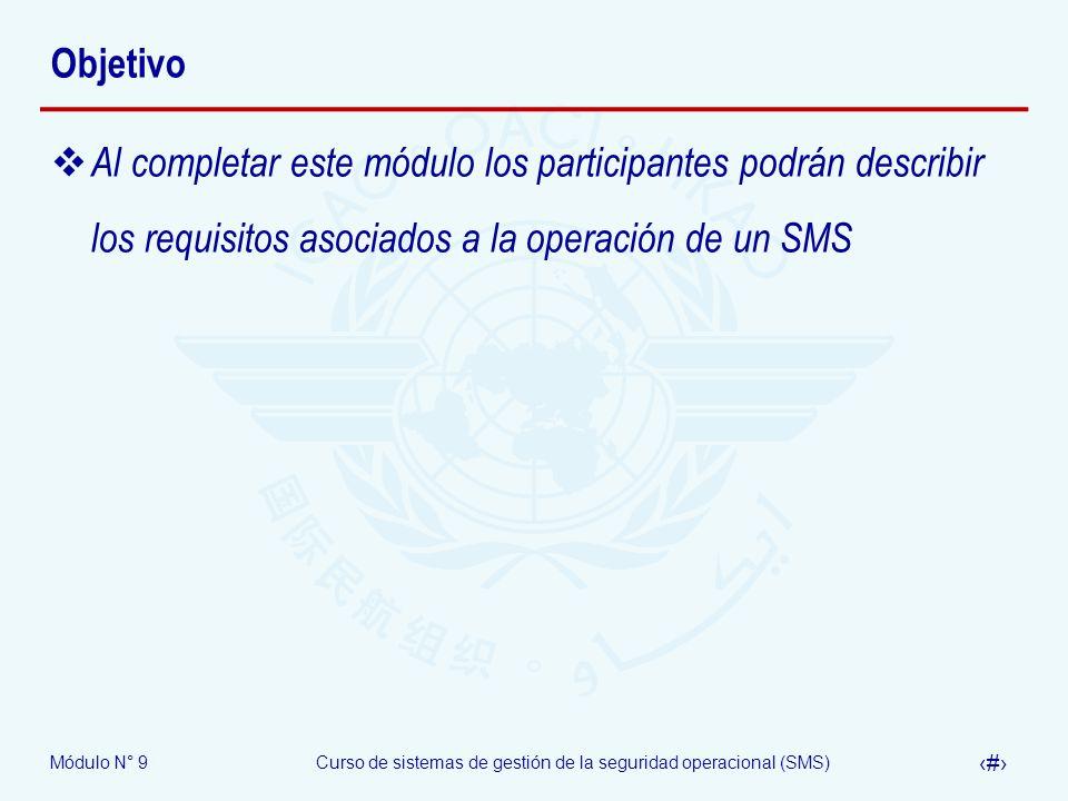 Módulo N° 9Curso de sistemas de gestión de la seguridad operacional (SMS) 14 Estructura OACI del SMS Política y objetivos de seguridad 1.1 – Responsabilidad y compromiso de la dirección 1.2 – Responsabilidades de seguridad operacional 1.3 – Designación del personal clave de seguridad 1.4 – Coordinación de la planificación de respuesta a la emergencia 1.5 – Documentación del SMS Gestión del riesgo de seguridad 2.1 – Identificación de peligros 2.2 – Evaluación y mitigación del riesgo Garantía de la seguridad 3.1 – Monitoreo y medición de la performance de la seguridad 3.2 – Gestión del cambio 3.3 – Mejora continua del SMS Promoción de la seguridad 4.1 – Entrenamiento y educación 4.2 – Comunicación de seguridad
