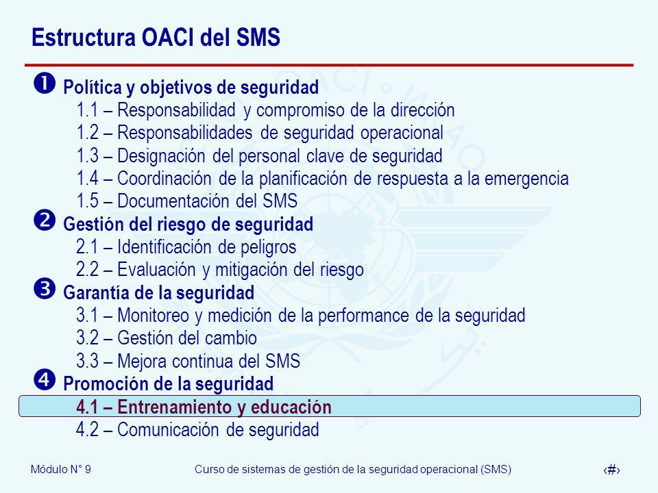 Módulo N° 9Curso de sistemas de gestión de la seguridad operacional (SMS) 30 Estructura OACI del SMS Política y objetivos de seguridad 1.1 – Responsab