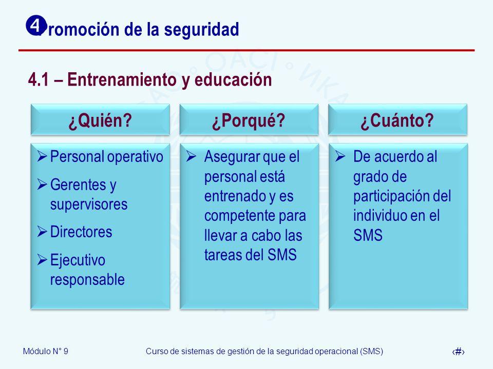 Módulo N° 9Curso de sistemas de gestión de la seguridad operacional (SMS) 33 Promoción de la seguridad 4.1 – Entrenamiento y educación Personal operat