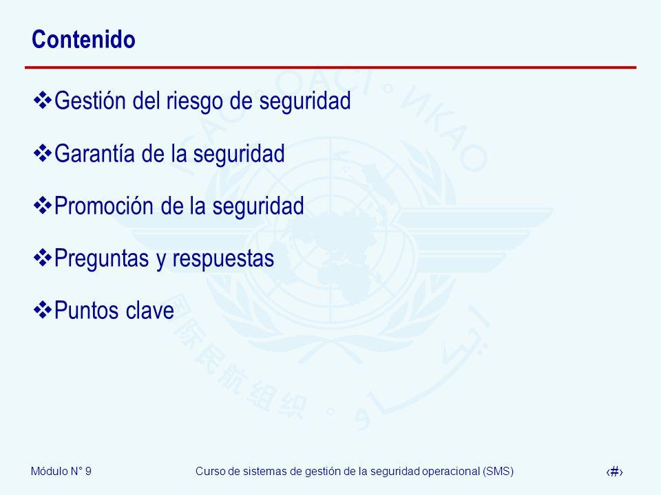 Módulo N° 9Curso de sistemas de gestión de la seguridad operacional (SMS) 5 Estructura OACI del SMS Política y objetivos de seguridad 1.1 – Responsabilidad y compromiso de la dirección 1.2 – Responsabilidades de seguridad operacional 1.3 – Designación del personal clave de seguridad 1.4 – Coordinación de la planificación de respuesta a la emergencia 1.5 – Documentación del SMS Gestión del riesgo de seguridad 2.1 – Identificación de peligros 2.2 – Evaluación y mitigación del riesgo Garantía de la seguridad 3.1 – Monitoreo y medición de la performance de la seguridad 3.2 – Gestión del cambio 3.3 – Mejora continua del SMS Promoción de la seguridad 4.1 – Entrenamiento y educación 4.2 – Comunicación de seguridad