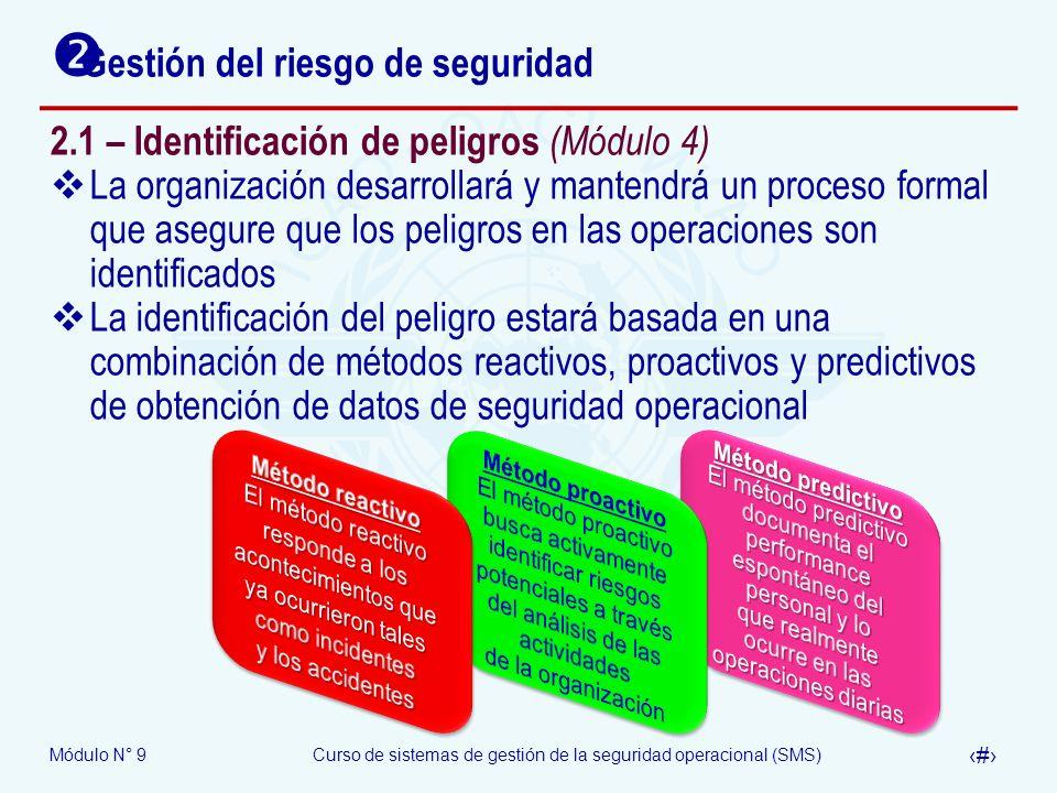 Módulo N° 9Curso de sistemas de gestión de la seguridad operacional (SMS) 6 Gestión del riesgo de seguridad 2.1 – Identificación de peligros (Módulo 4