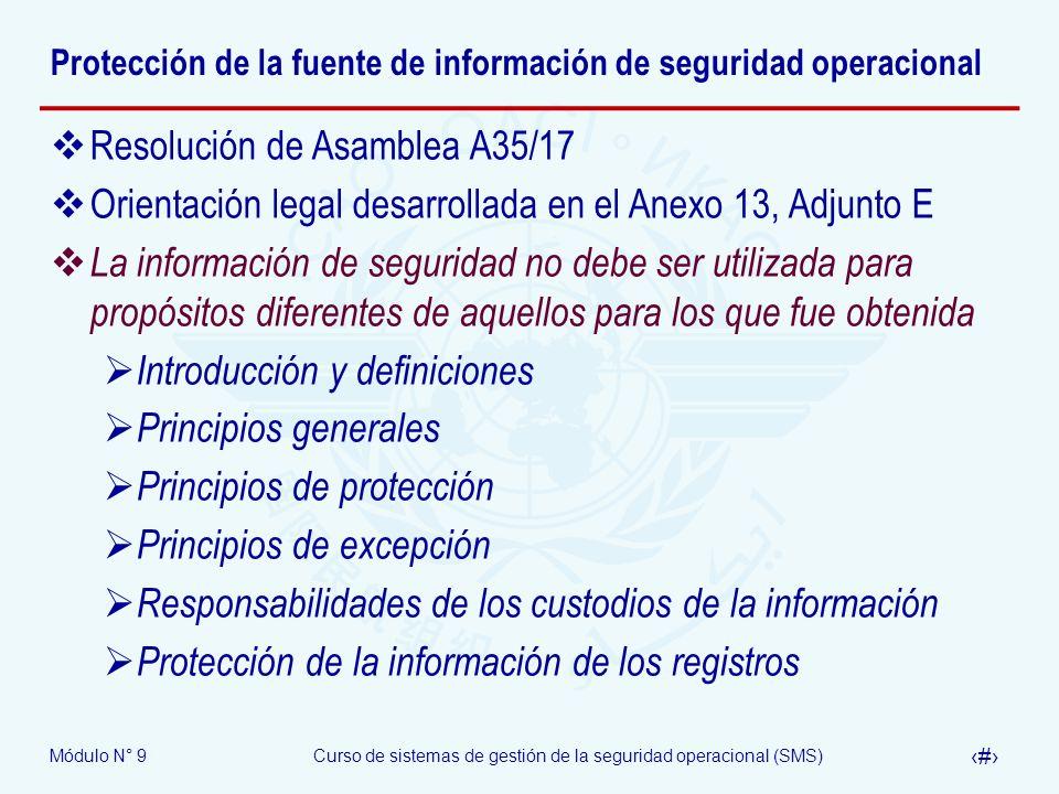 Módulo N° 9Curso de sistemas de gestión de la seguridad operacional (SMS) 30 Estructura OACI del SMS Política y objetivos de seguridad 1.1 – Responsabilidad y compromiso de la dirección 1.2 – Responsabilidades de seguridad operacional 1.3 – Designación del personal clave de seguridad 1.4 – Coordinación de la planificación de respuesta a la emergencia 1.5 – Documentación del SMS Gestión del riesgo de seguridad 2.1 – Identificación de peligros 2.2 – Evaluación y mitigación del riesgo Garantía de la seguridad 3.1 – Monitoreo y medición de la performance de la seguridad 3.2 – Gestión del cambio 3.3 – Mejora continua del SMS Promoción de la seguridad 4.1 – Entrenamiento y educación 4.2 – Comunicación de seguridad