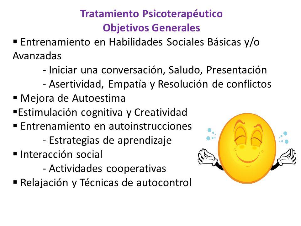 Tratamiento Psicoterapéutico Objetivos Generales Entrenamiento en Habilidades Sociales Básicas y/o Avanzadas - Iniciar una conversación, Saludo, Prese