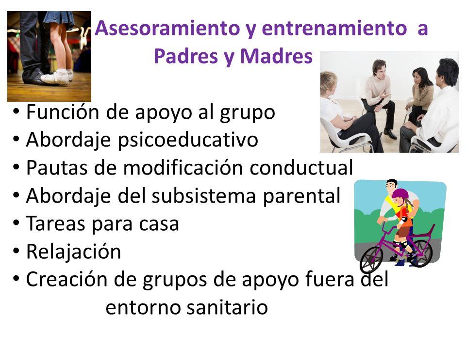 Asesoramiento y entrenamiento a Padres y Madres Función de apoyo al grupo Abordaje psicoeducativo Pautas de modificación conductual Abordaje del subsi