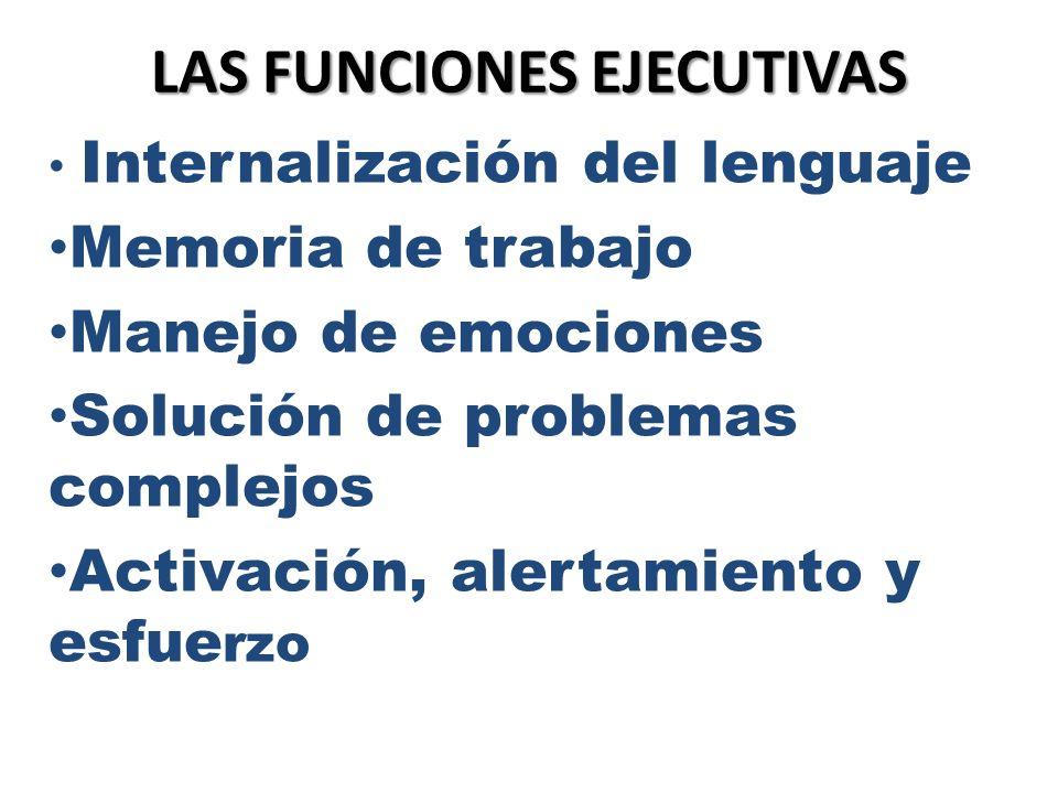 LAS FUNCIONES EJECUTIVAS Internalización del lenguaje Memoria de trabajo Manejo de emociones Solución de problemas complejos Activación, alertamiento
