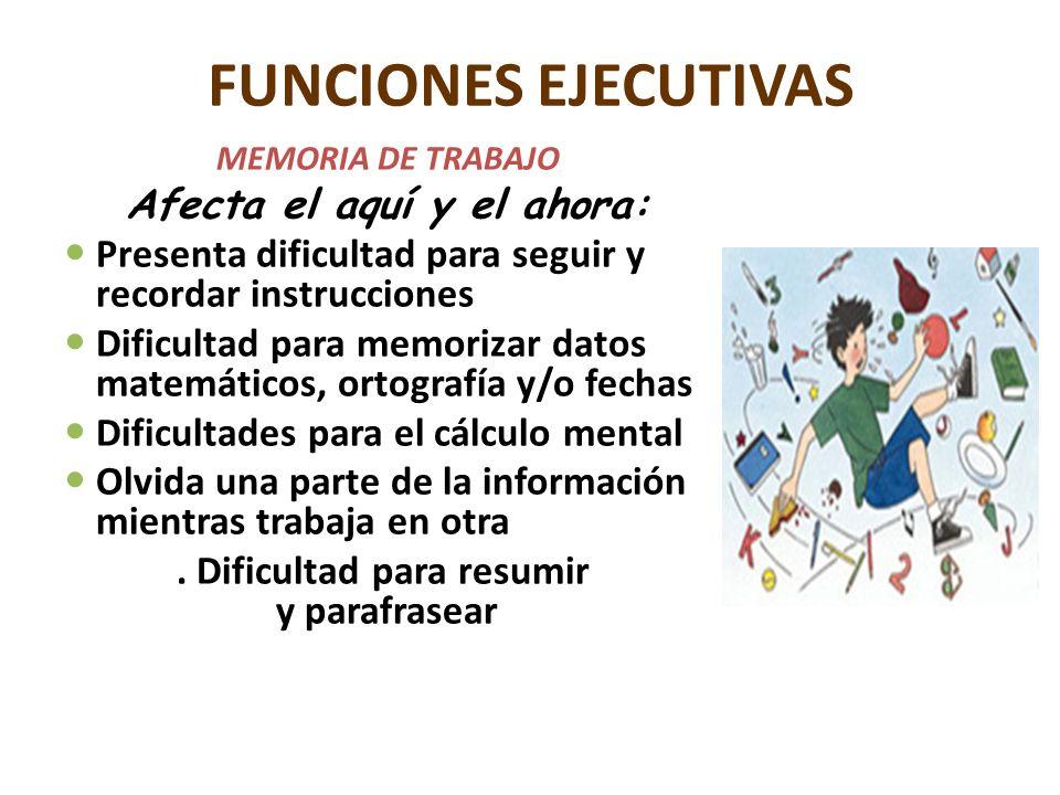 FUNCIONES EJECUTIVAS MEMORIA DE TRABAJO Afecta el aquí y el ahora: Presenta dificultad para seguir y recordar instrucciones Dificultad para memorizar