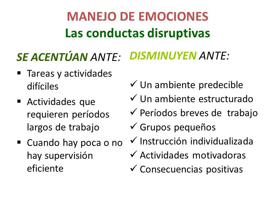 MANEJO DE EMOCIONES Las conductas disruptivas SE ACENTÚAN ANTE: Tareas y actividades difíciles Actividades que requieren períodos largos de trabajo Cu