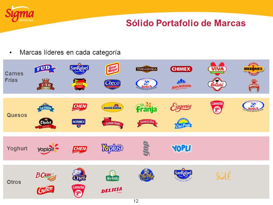 12 Sólido Portafolio de Marcas Carnes Frías Quesos Yoghurt Otros Marcas líderes en cada categoría