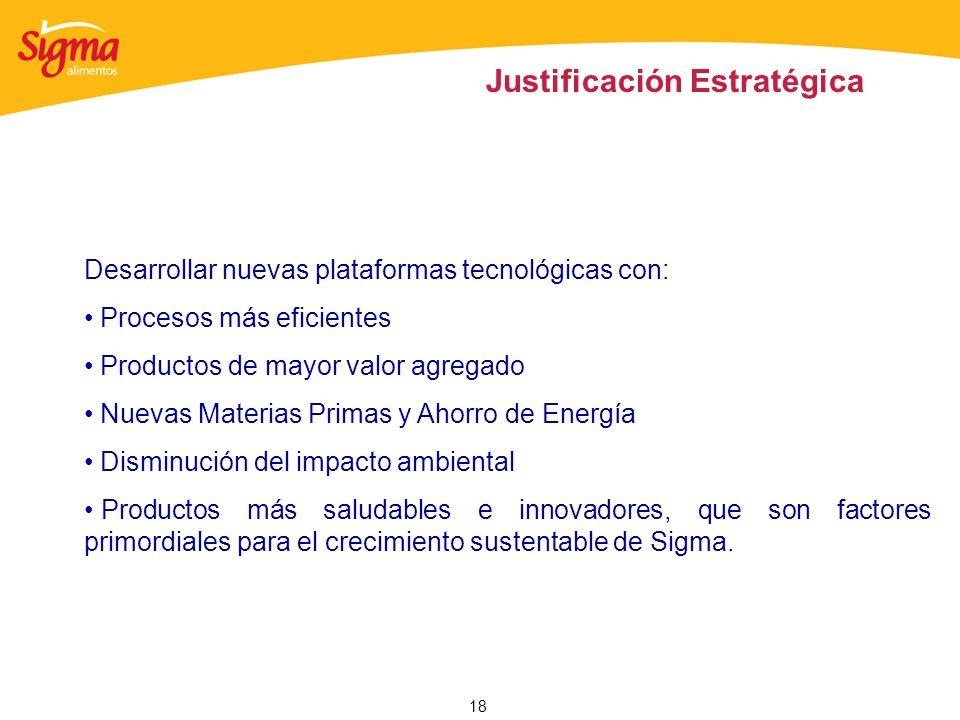 18 Justificación Estratégica Desarrollar nuevas plataformas tecnológicas con: Procesos más eficientes Productos de mayor valor agregado Nuevas Materia