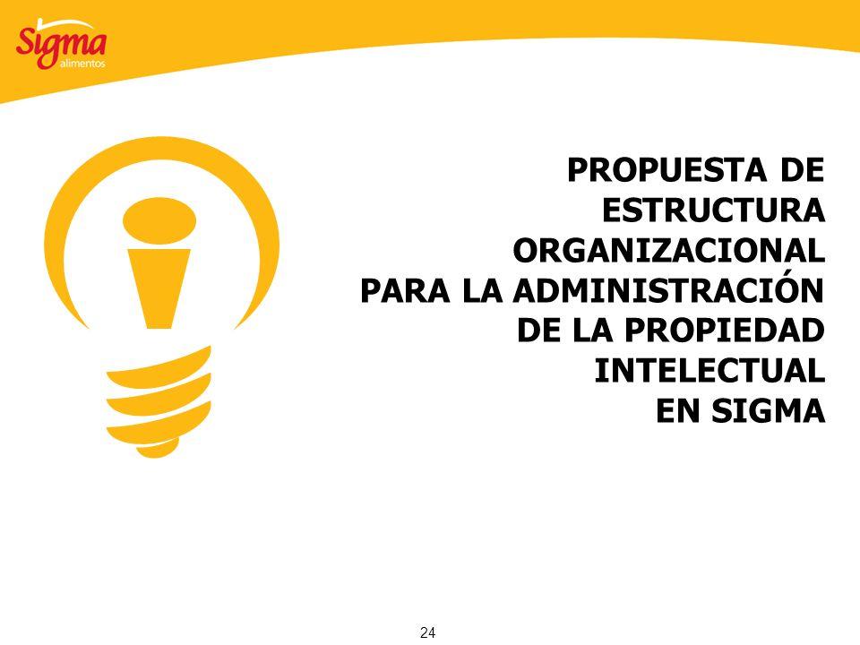 24 PROPUESTA DE ESTRUCTURA ORGANIZACIONAL PARA LA ADMINISTRACIÓN DE LA PROPIEDAD INTELECTUAL EN SIGMA