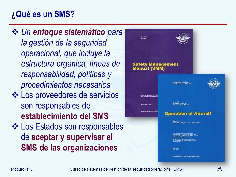 Módulo N° 6Curso de sistemas de gestión de la seguridad operacional (SMS) 19 ¿Qué es un SMS? Un enfoque sistemático para la gestión de la seguridad op
