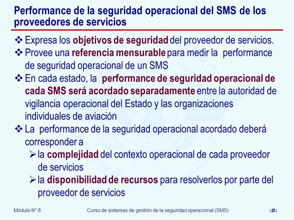 Módulo N° 6Curso de sistemas de gestión de la seguridad operacional (SMS) 20 Performance de la seguridad operacional del SMS de los proveedores de ser