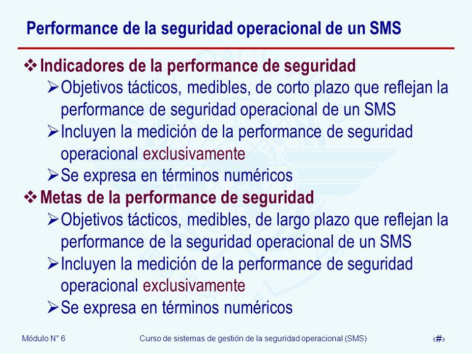 Módulo N° 6Curso de sistemas de gestión de la seguridad operacional (SMS) 22 Performance de la seguridad operacional de un SMS Indicadores de la perfo