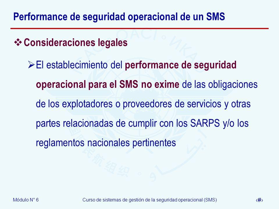 Módulo N° 6Curso de sistemas de gestión de la seguridad operacional (SMS) 23 Performance de seguridad operacional de un SMS Consideraciones legales El