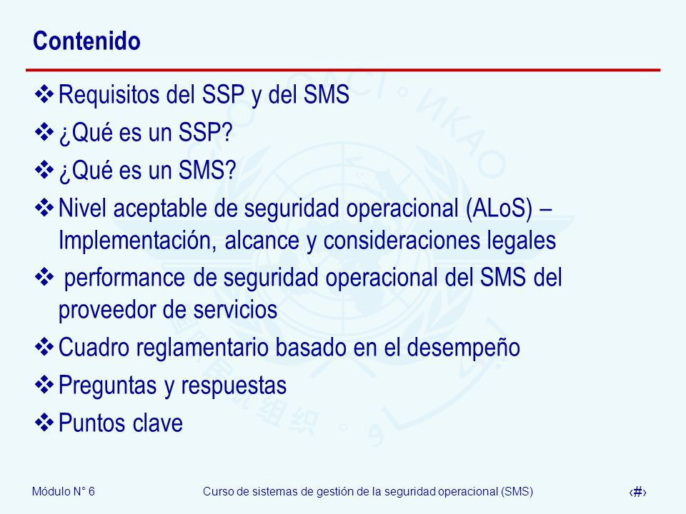 Revision N° 13ICAO Safety Management Systems (SMS) Course06/05/09 Módulo N° 6 – Reglamentación del SMS